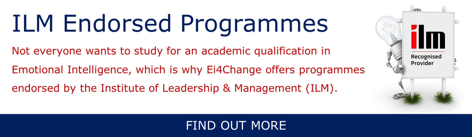 Ei4Change ILM Endorsed Programmes Banner
